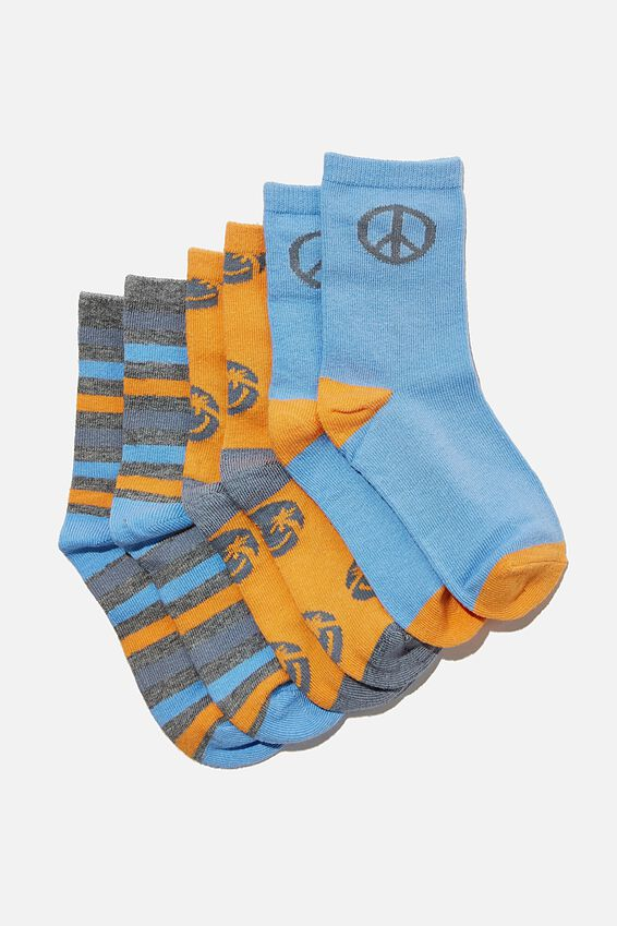 Kids 3Pk Crew Socks, BLUE PEACE