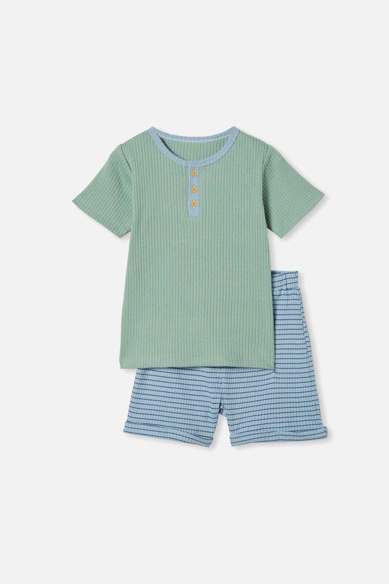 Luke Short Sleeve Pyjama Set, SMASHED AVO