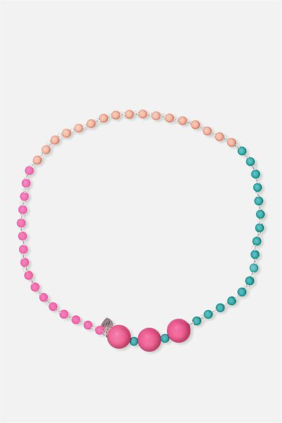 Mixed Beaded Necklace, PINK/BFF