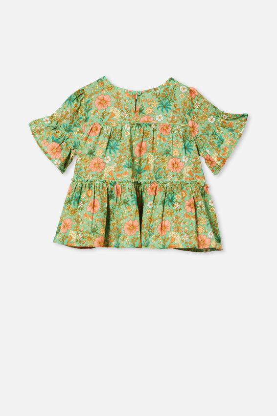 Frede Short Sleeve Frill Top, SPEARMINT/GARDEN FLORAL