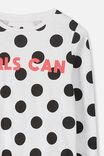 Penelope Long Sleeve Tee, BLACK JUMBO SPOT/GIRLS CAN/DROP