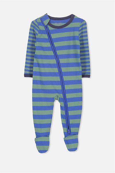 Sleep Mini Zip All In One Jumpsuit, SCUBA BLUE/GABBY GREEN STRIPE