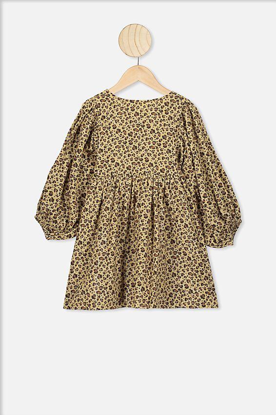 Goldie Long Sleeve Dress, SAND DUNE/SNOW LEOPARD