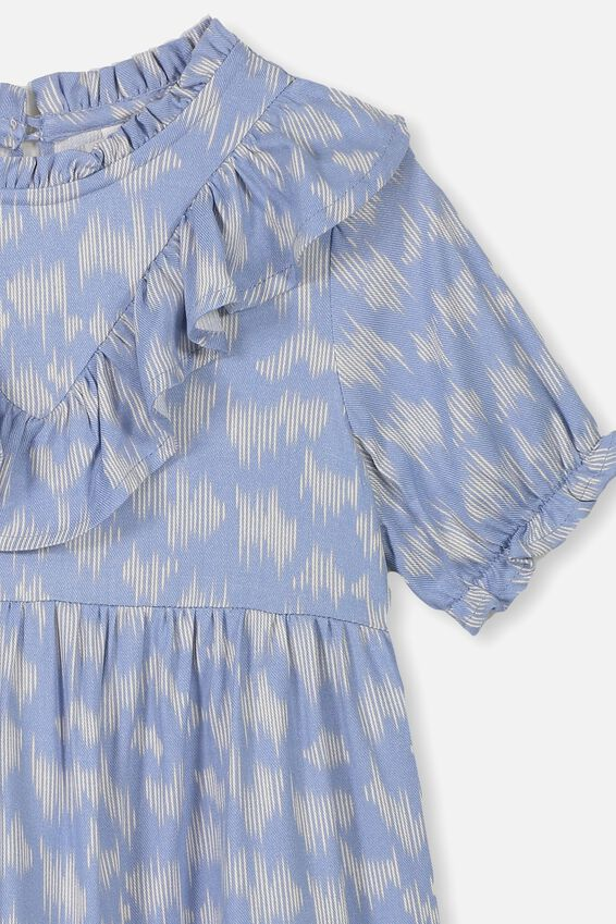 Laura Short Sleeve Dress, DUSTY BLUE/SKETCHY LEOPARD