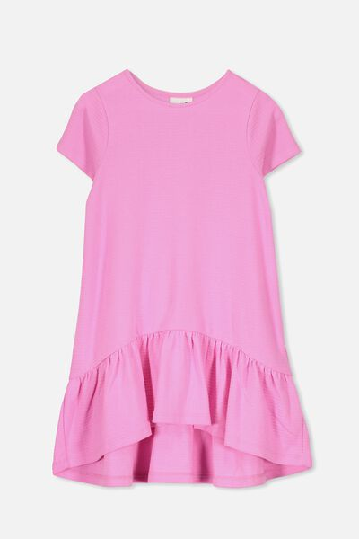 Joss Short Sleeve Dress, FUCHSIA PINK/TEXTURE