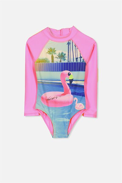 Lydia Rashie Swimsuit, BRIGHTER PINK/PALM SPRING FLAMINGO