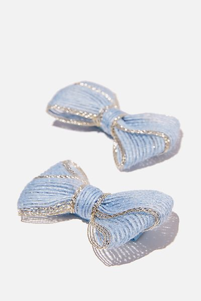 Big Bow Clips - Linen Look, INDIGO GOLDY
