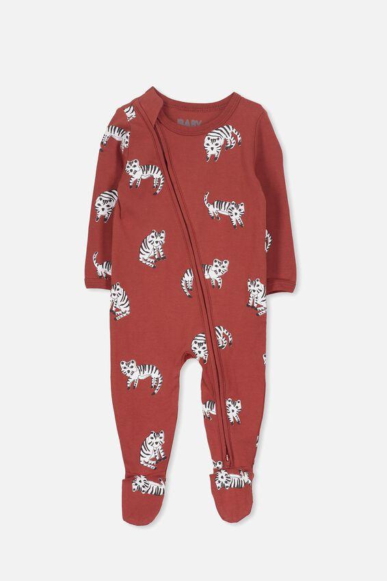 Sleep Mini Zip All In One Jumpsuit, SWEET PAPRIKA/SKETCHY TIGER