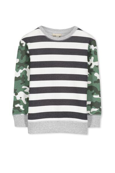 Lachy Crew Sweater, GRAPHITE/CAMO PRINT