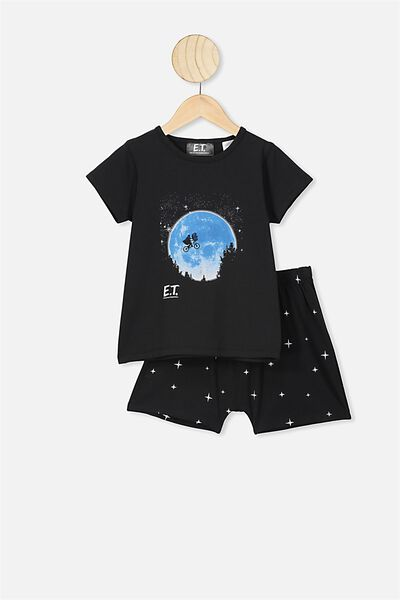 Hudson Short Sleeve Pyjama Set, LCN UNI BLACK ET