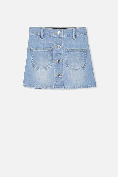 Flora Denim Skirt, MID WASH