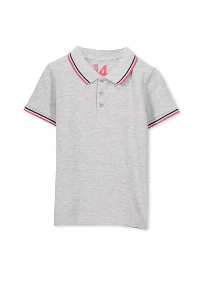 Kenny3 Polo, LT GREY MARLE/RED TIPPING