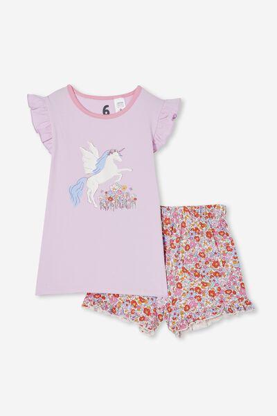 Stacey Short Sleeve Flutter Pyjama Set, MIDDLETON FLORAL UNICORN/PALE VIOLET