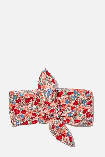 The Tie Headband, VANILLA/LUCKY RED JOLLY FLORAL