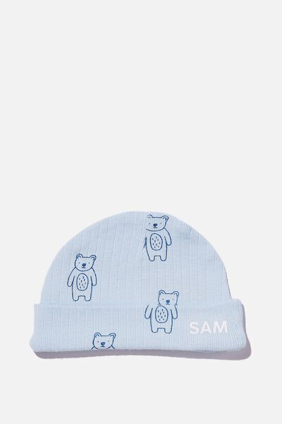 Organic Newborn Beanie - Personalisation, WHITE WATER BLUE/FOREST BEARS