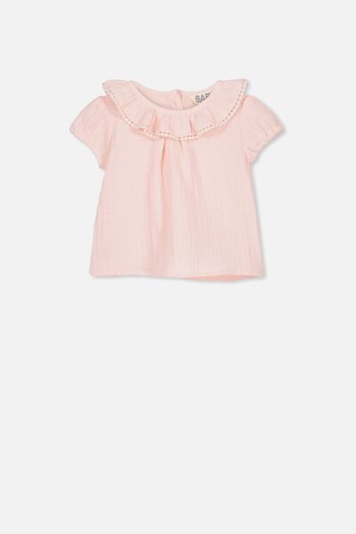 Halle Short Sleeve Ruffle Top, CRYSTAL PINK