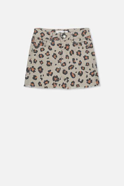 Finn Denim Skirt, MUSHROOM ANIMAL