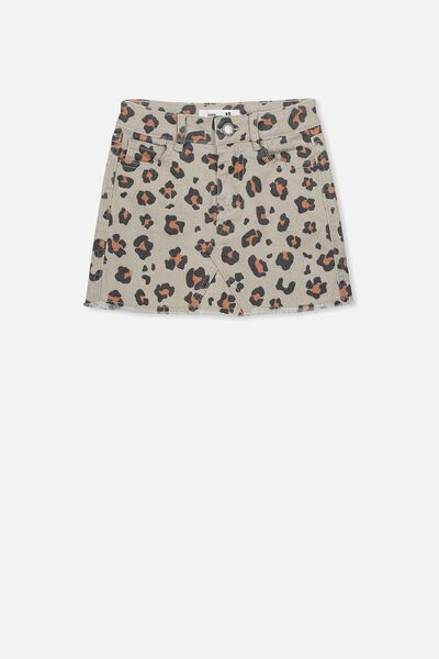 Finn Denim Skirt, MUSHROOM ANIMAL