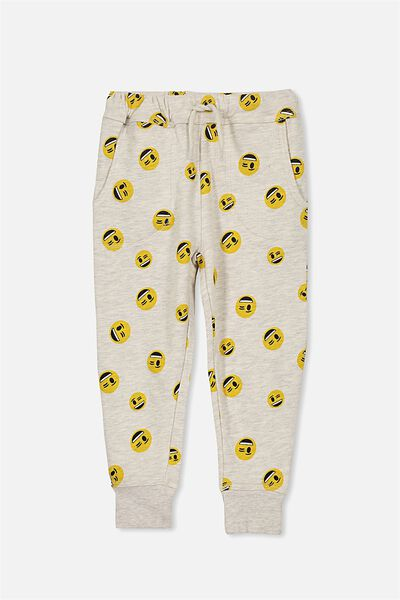 License Slouch Trackpant, OATMEAL/EMOJI YARDAGE