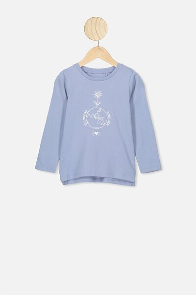 Penelope Long Sleeve Tee, DUSTY BLUE/LET'S MAKE OUR PLANET GREAT