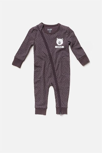 Mini Zip Footless Romper, GRAPHITE GREY/VANILLA SPOT (PERSONALISATION)