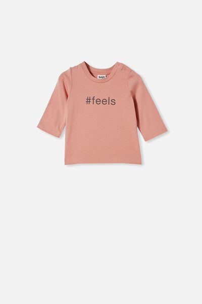 Jamie Long Sleeve Tee, CLAY PIGEON/#FEELS