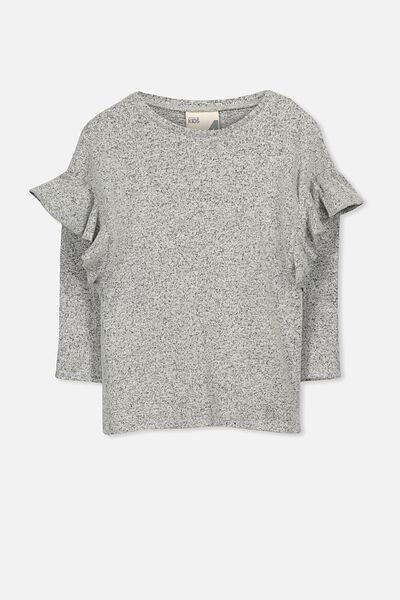 Olive Frill Ls Top, GREY MARLE