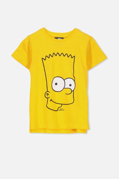 Short Sleeve License Tee, GOLDEN YELLOW/BART SIMPSON