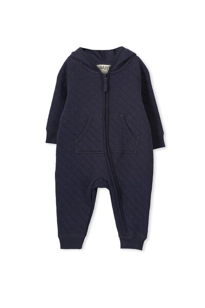 Mini Quilted Romper, NAVY