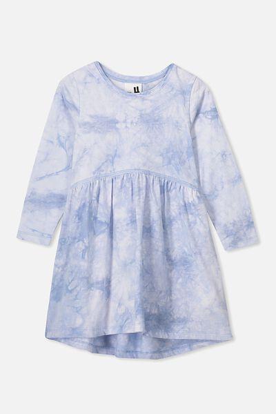 Freya Long Sleeve Dress, DUSTY BLUE TIE DYE