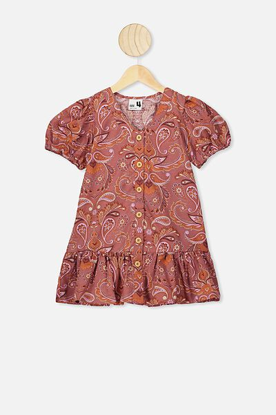 Lulu Short Sleeve Dress, RUSTY ROSE PAISLEY