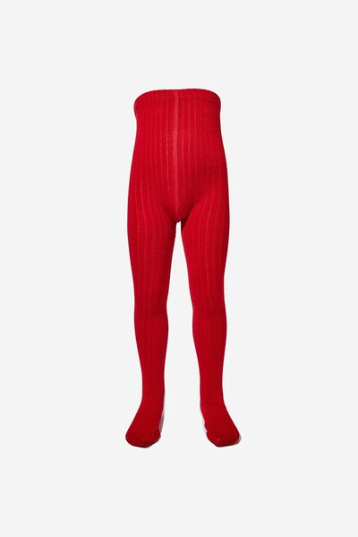 Ribbed Solid Tight, DEEP RED