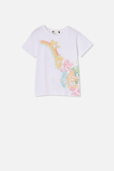 License Short Sleeve Tee, LCN CB WHITE/CARE BEARS RAINBOW