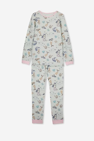 Ruby Long Sleeve Girls Pyjamas, UNDERWATER MERMAIDS/MINTY BLUE