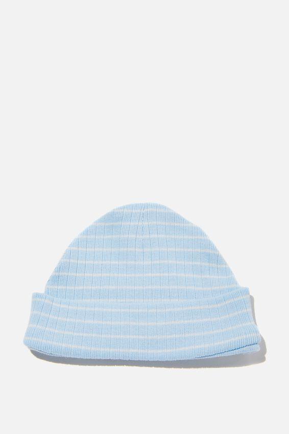 Organic Newborn Beanie, WHITE WATER BLUE/MILK SALLA STRIPE