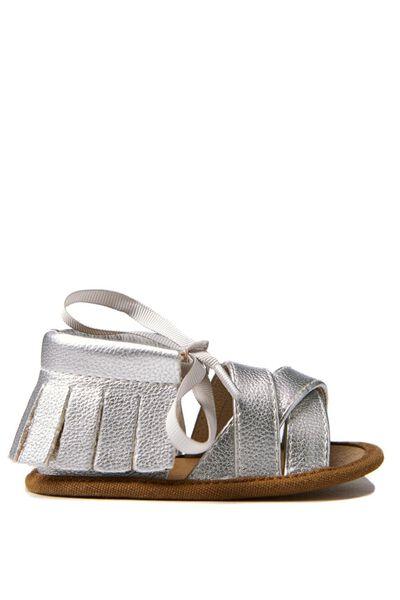 Frances Mini Fringe Sandal, SILVER