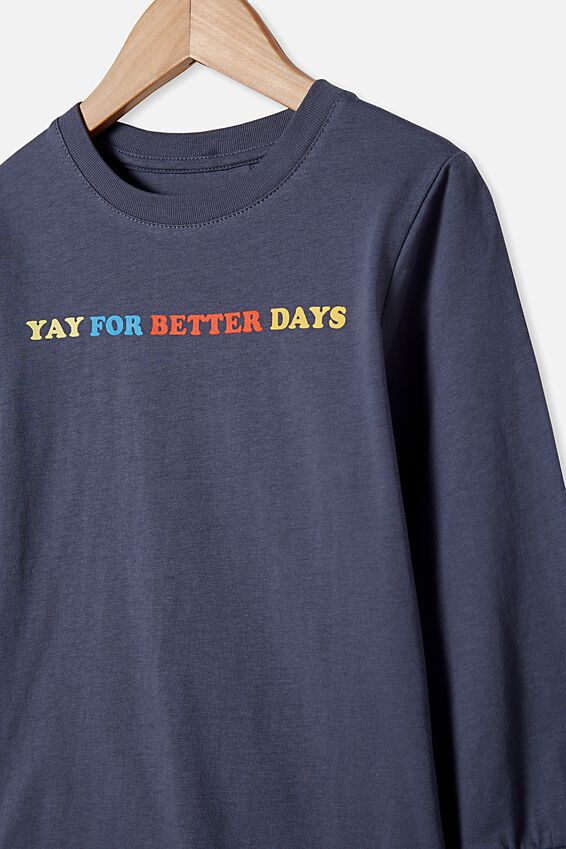 Tom Long Sleeve Tee, NAVY/YAY FOR BETTER DAYS