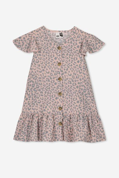 Lola Short Sleeve Dress, PEACH WHIP/LEOPARD