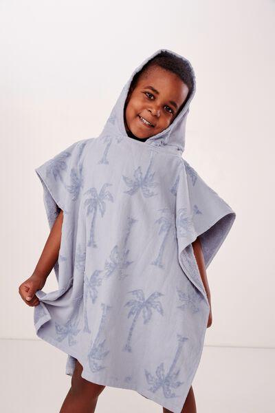 Kids Hooded Towel, PALM TREE BLUE