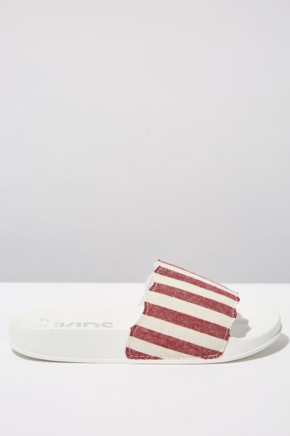 Scallop Slide, RUST WHITE STRIPE