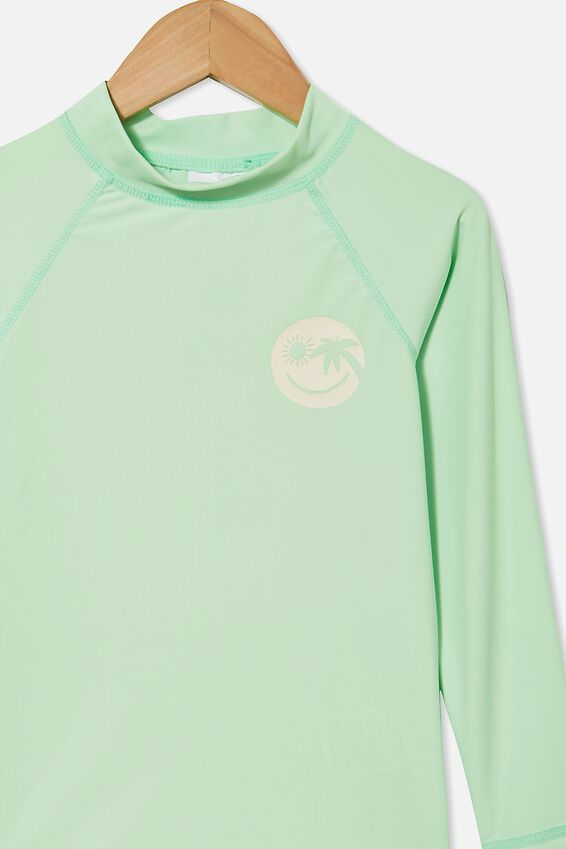 Flynn Long Sleeve Raglan Rash Vest, WASHED SPEARMINT/SMILE