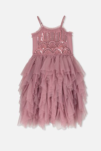 Iris Tulle Dress, DUSTY BERRY/SEQUIN DECO