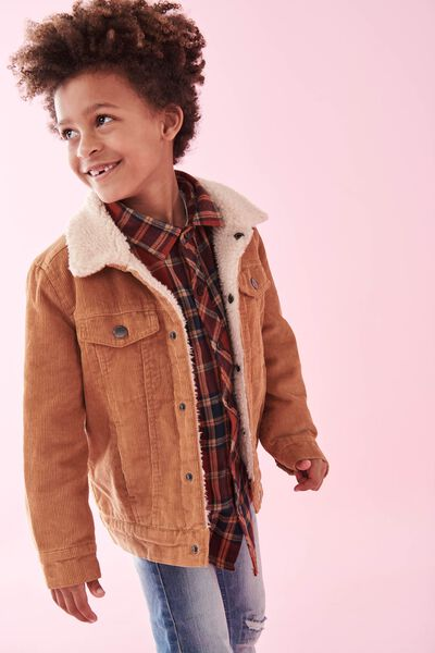 Jamie Cord Sherpa Jacket, BURNT BISCUIT