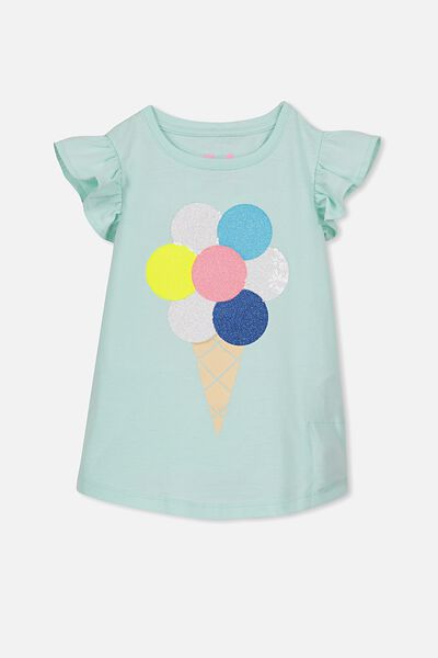 Anna Short Sleeve Flutter Tee, BAY/SEQUIN ICECREAM