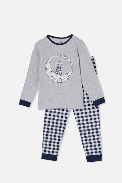 Orlando Long Sleeve Pyjama Set, OVER THE MOON/SUMMER GREY MARLE