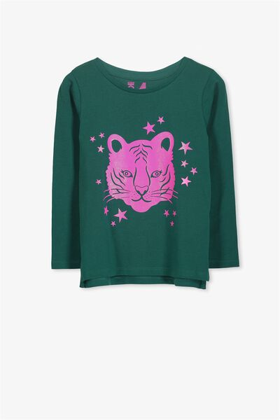 Penelope Long Sleeve Tee, SHADED SPRUCE/TIGER/SET IN