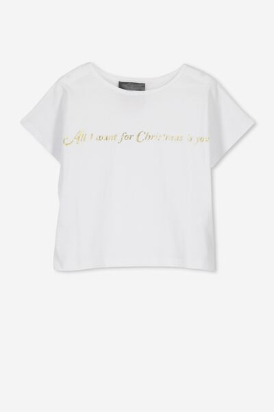 Lux Short Sleeve Tee, WHITE/ALL I WANT FOR CHRISTMAS