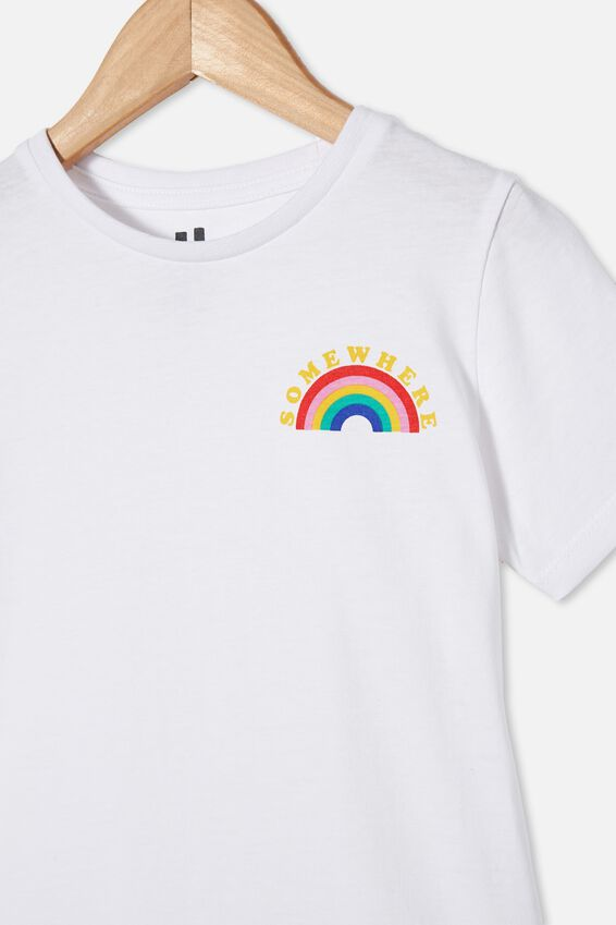 Penelope Short Sleeve Tee, WHITE/SOMEWHERE RAINBOW