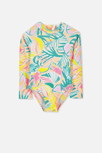 Lydia Rashie Swimsuit, PAINTERLY PALM YARDAGE