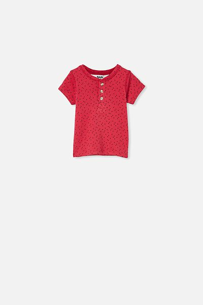 Henry Short Sleeve Placket Top, LUCKY RED/MINI STARS